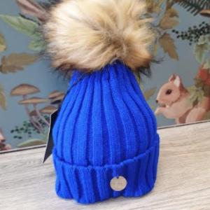 MSC single pom faux fur adult hat blue