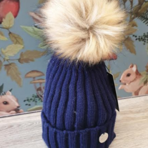 MSC single pom faux fur adult hat - navy