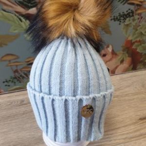MSC single pom faux fur hat blue