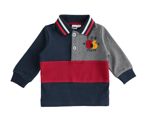 Polo shirt in heavy jersey 100% cotton with terry stitch embroidery
