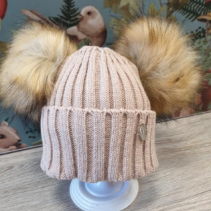 msc double pom faux fur hat