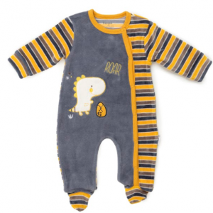 Babybol all in one dino velour babygrow