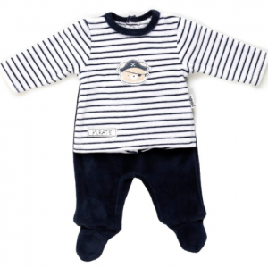 Babybol velour navy and white striped 2pce set