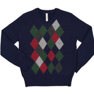 Boys knitted diamond jumper