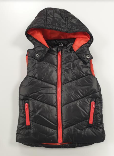 Losan body vest with detachable hood black and red