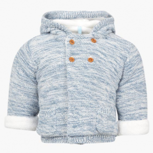 Losan knitted cardigan with faux fur lining blue