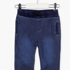 Losan soft denim trousers with ribbed waistband