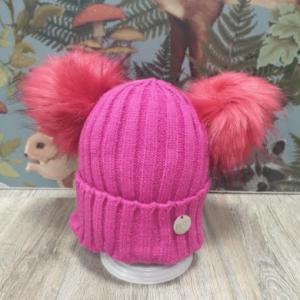 MSC double pom faux fur hat fuchsia pink