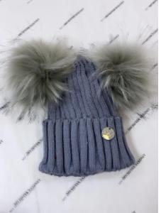 MSC double pom faux fur hat grey