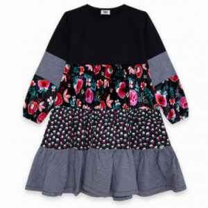 Tuc tuc combined black and floral dress
