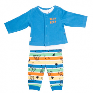 babybol 3pce set, cardigan with beep beep print, t-shirt and car printed trousers