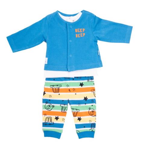babybol 3pce set, cardigan with beep beep print, t-shirt and car printed trousers