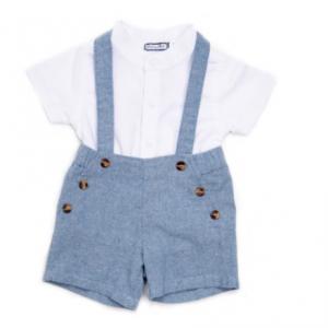Babybol boys dungaree shorts and white linen shirt