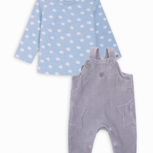 tuc tuc blue and grey corduroy overall and t-shirt cozy friends