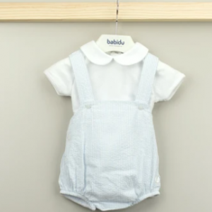 Babidu blue and white romper