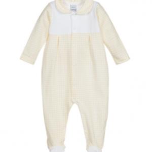 Babidu vichy yellow & white babygrow