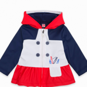 Tuc Tuc RAINCOAT WITH ZIPPER AND HOOD FOR GIRLS WHITE SCHOOL OF ARTS
