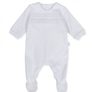 Tutto piccolo white babygrow with silver embroidered stitching