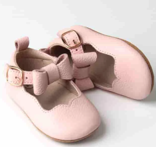 Dainty bear leather mary jane shoes - pink