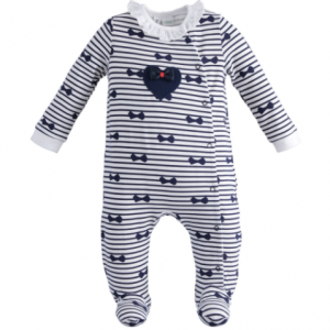 I do heart and bows all in one navy and white babygrow