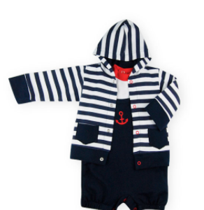 Sardon 3pce navy, red and white short dungaree set with hoodie