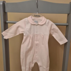 Babidu vichy pink and white babygrow presented in a gift box