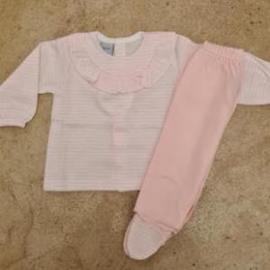 Babidu 2pce pink and white trouser set