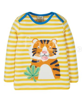 Frugi GOTS organic cotton bobby applique top, bumble bee stripe/tiger