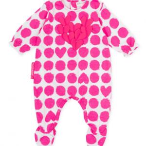 Agatha ruiz de la prada baby babygrow with fuchsia pattern