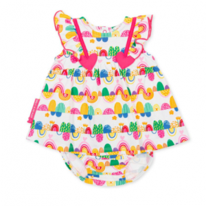 Agatha ruiz de la prada baby multicoloured rainbow dress and matching briefs