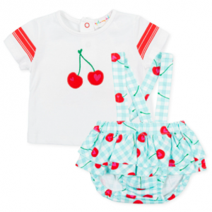 Agatha ruiz de la prada aquamarine 2 piece cherry short dungarees and t-ahirt
