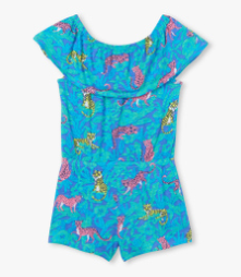 Hatley jungle cats flutter short romper