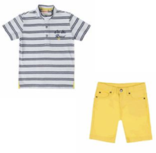 UBS.2 navy, white and yellow polo shirt and yellow short set