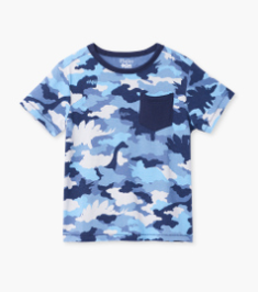 Hatley dino camo graphic front pocket t-shirt