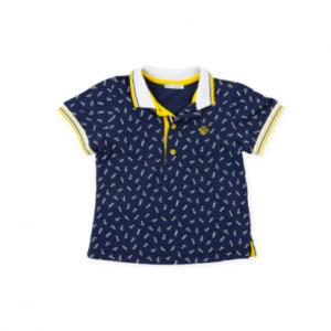 Tutto Piccolo short sleeve polo shirt navy blue