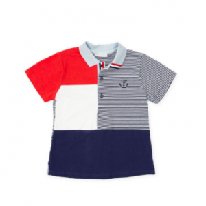 Tutto piccolo polo shirt short sleeve - red and navy
