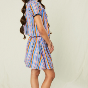 NoNo Mirthe woven dress with bright stripes