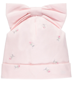 Emile et rose baby girl pink embroidered cotton hat with bow