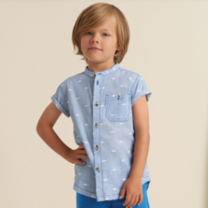 Hatley shark patrol short sleeve collarless button down shirt