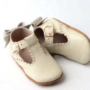 Dainty bear bailey soft leather pre walker shoe cream and gold