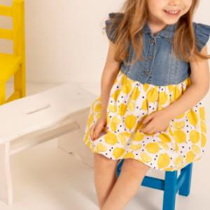 Babybol denim and lemon dress