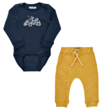 Minymo organic cotton navy and yellow jogger and tractor bodysuit set