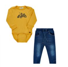 Minymo Organic cotton tractor bodysuit and soft denim pants