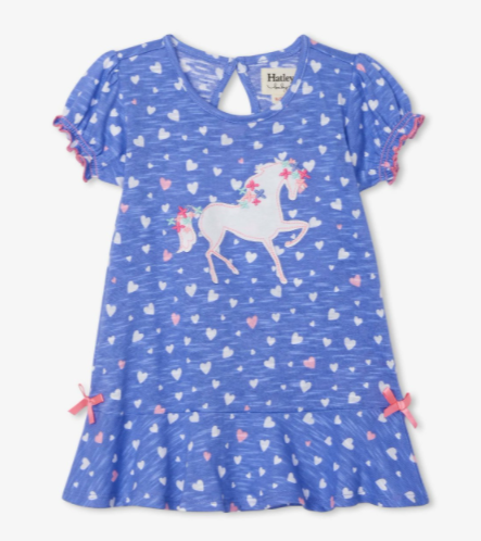 Hatley fancy unicorn baby flounce hem dress