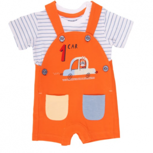 Babybol orange dungaree and striped t-shirt for baby boy