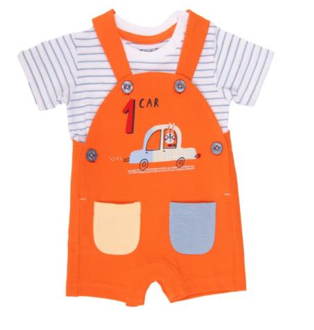Babybol orange dungaree and striped t-shirt for baby boy