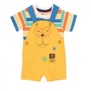 Babybol mr dog dungaree set with striped t-shirt