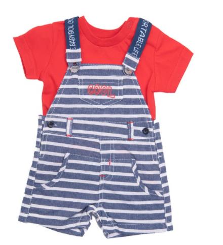 Babybol woven dungaree and red t-shirt set