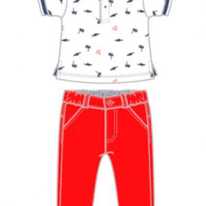 Babybol red chino and nautical polo shirt set