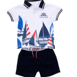 Babybol nautical yacht club short set